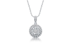 1/10 CTTW Diamond Cluster Pendant in Sterling Silver by DeCarat