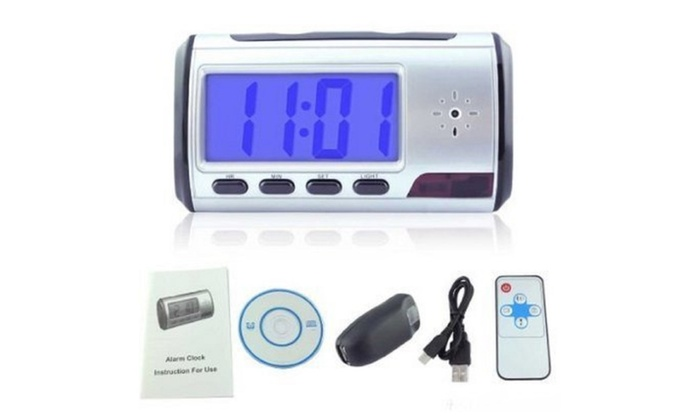 Portable Alarm Clock, Built-In Spy Camera with Motion Detection
