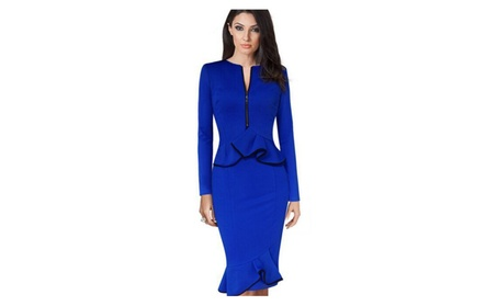 Women Long Sleeves Front Zip Neck Fishtail Peplum Dress - TCWD366 (Goods Women's Fashion Clothing Dresses Special Occasion) photo