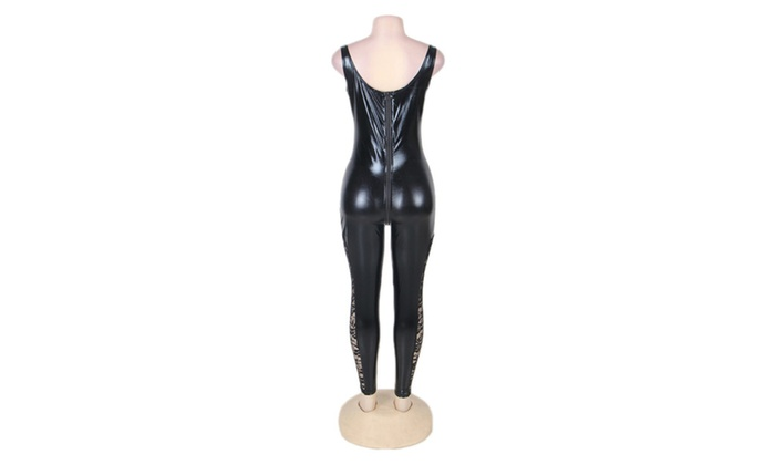 Womens Leather Latex Catsuit Halloween Costume With Jumpsuitsgloves