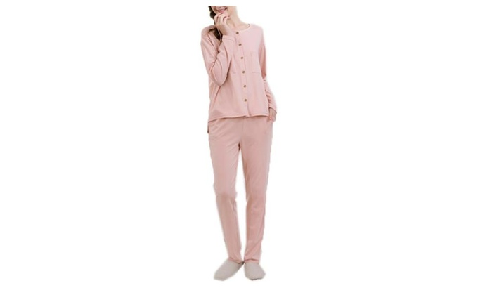 Women's ladies Long Solid Regular Fit Casual Pajamas Set