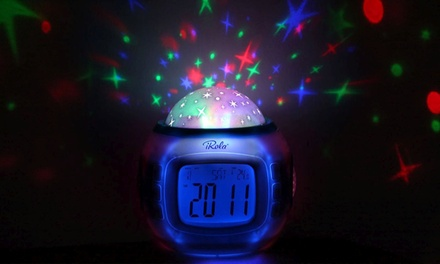 iRola Starry Night Projection LED Alarm Clock with 10 Pre-Programmed Songs