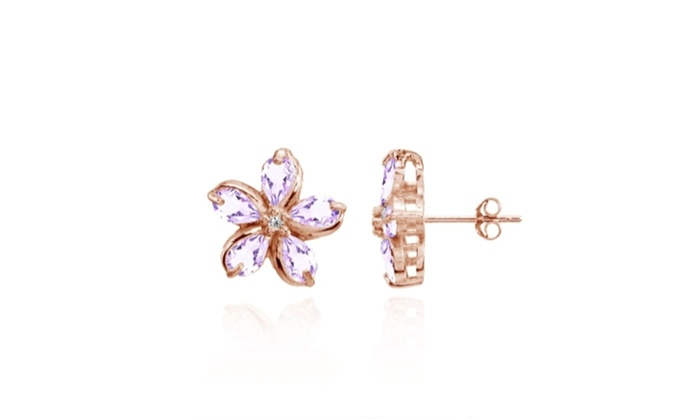 Polished Flower Amethyst Stud Earrings In Rose Gold Tone Over Silver