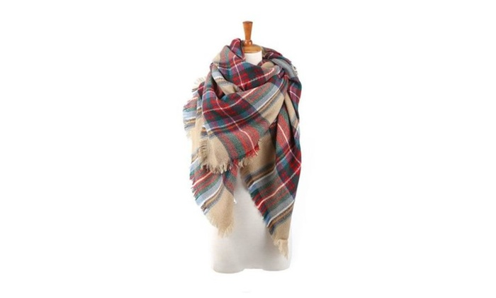 Women's Cozy Check Plaid Blanket Scarf Poncho Wrap Shawl