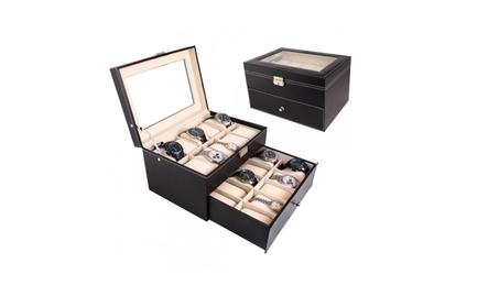 New 20 Slot Leather Watch Box Case Organizer Glass Top Display Jewelry ee93c0b5-25f6-49d2-885f-a53ecf2c5ba2