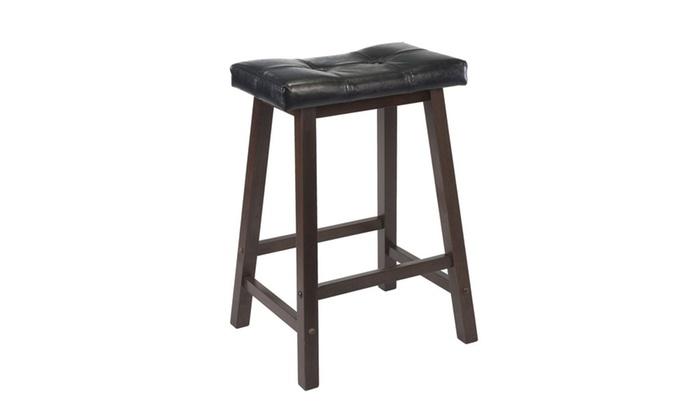 winsome mona 24 cushion saddle seat stool black faux leather wood