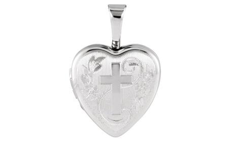 Sterling Silver Heart Locket with Cross bc022c4b-36c6-445a-bc10-b3d8df009f5b