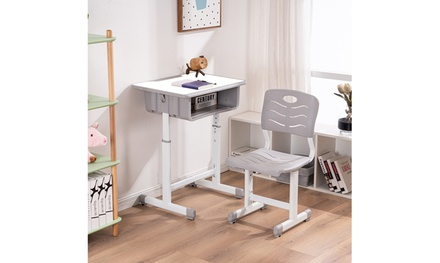 Adjustable Students Children Desk and Chairs Set Light Grey/Black/White