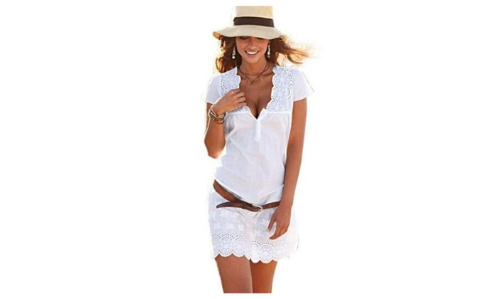 Women Lace Floral Short Sleeve Causal Party Mini Dress