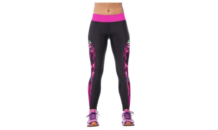 Women's 3D Owl Digital Printed Elasticity Tight Fitness Pants Leggings