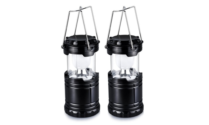 Camping Lantern for Hiking, Camping with Batteries, Black (2 Pack)
