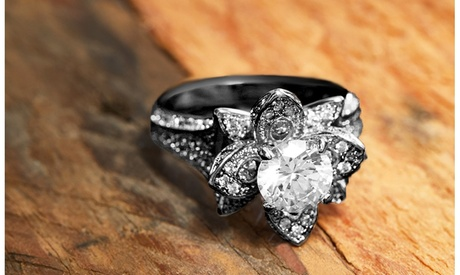 Black Rhodium Crystal Flower Ring Made With Crystals From Swarovski