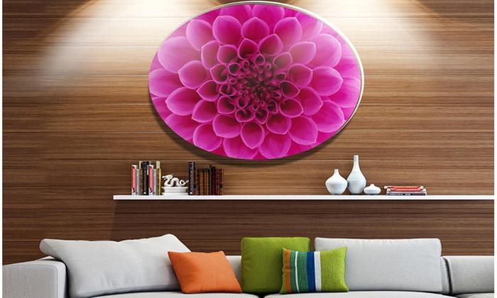 Dark Pink Abstract Flower Petals\' Disc Floral Circle Metal Wall ...