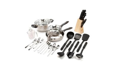 Gibson Lybra 12 pc Flatware Set + 7 pc Knife Set + 13 pc Cookware Set photo