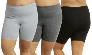 Women's Plus-Size Cotton-Blend Biker Shorts (3-Pack)