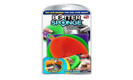Better Sponge, The As Seen on TV Multi-colored Textured Silicone Sponges, 3 Pack fd56d282-e5d2-4966-befd-df7ee4fc098b