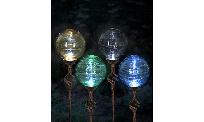 Solar Hairline Glass Ball Garden Stake Light Set (4 Piece) ...
