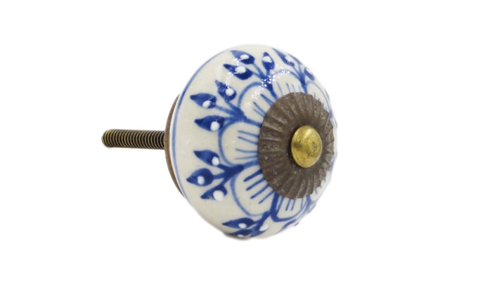 Blue Zinnia Flower Ceramic Drawer Pulls, Knobs - Pack of 6