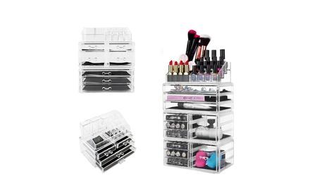 Acrylic Cosmetics Storage Makeup Organizer Rack Case Jewelry Box