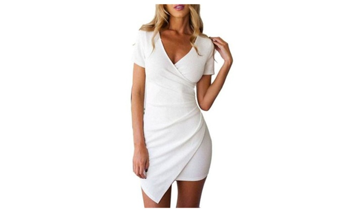 Women's Short Sleeve V-neck Irregular Hem Party Evening Bodycon Dress