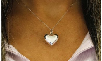 Italian Sterling Silver Puffed Heart Necklace