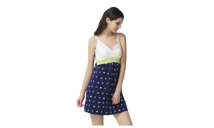 Women's V Neck Strap Sleeveless Pattern High Waist Nightgown