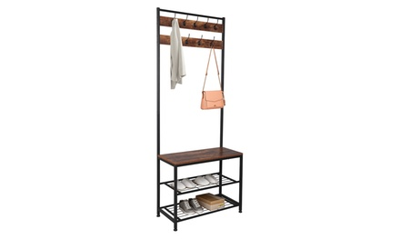 Industrial Coat Rack,Hall Tree Entryway Shoe Bench with Metal Frame