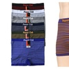Mens Horizontal Striped Seamless Boxer Brief 6 Piece Color Variety Set