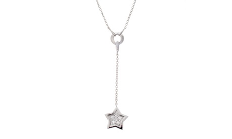 "Sterling Silver CZ Star Charm 16"" Cable Chain Necklace a455e3fc-34a2-47fd-bb53-c1ef6360aa02"