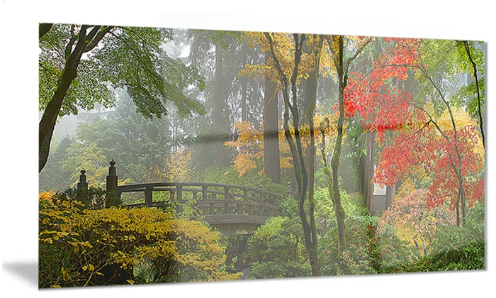 Japanese Wooden Bridge In Fall Photo Metal Wall Art 28x12