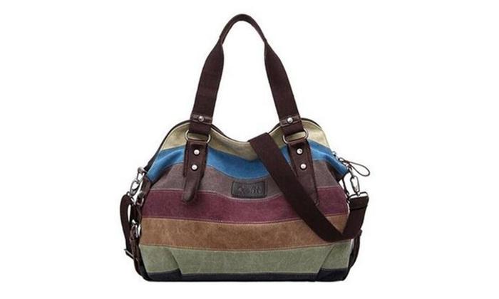 Women Stripe Leisure Canvas Top Handle Cross Body Bag - Model B / Medium