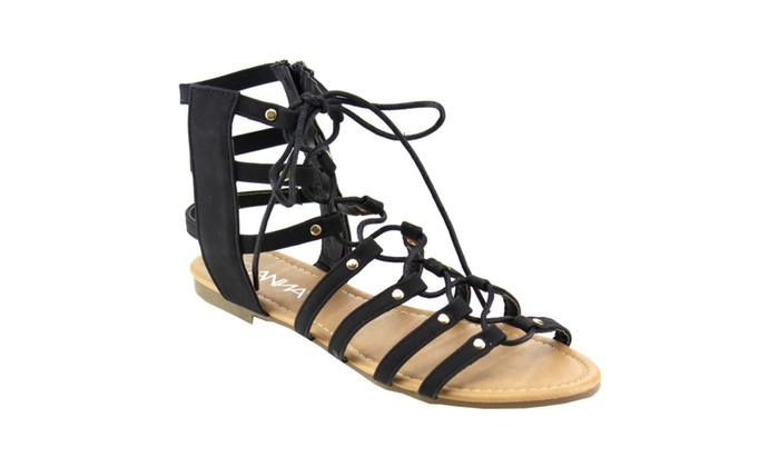 Beston ROMAN-1 Women's Lace Up  Strappy Side Zip Flat Gladiator Sandal
