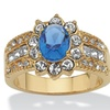 Blue and White Crystal 14k Yellow Gold-Plated Triple-Row Halo Ring