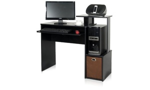 Furinno 12095BK/BR Econ Multipurpose Home Computer Desk w/Bin, Black/Brown