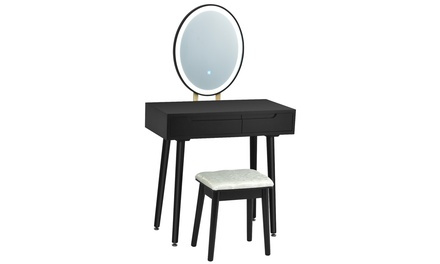 Costway Vanity Makeup Table Touch Screen 3 Lighting Modes Dressing Table Set