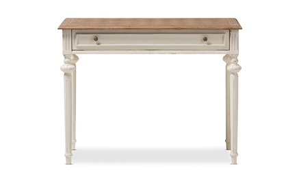 Marquetterie Weathered Oak and Whitewash Writing Desk