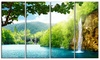 Waterfall in Deep Forest Landscape Metal Wall Art 48x28 4 Panels