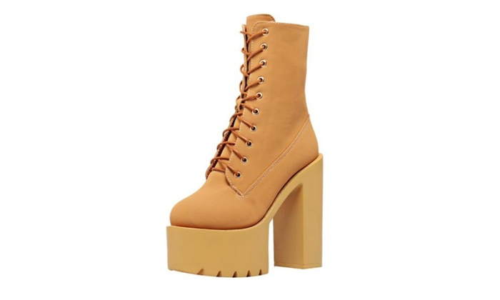 Women's Round Toe Lace up Fashion Boots