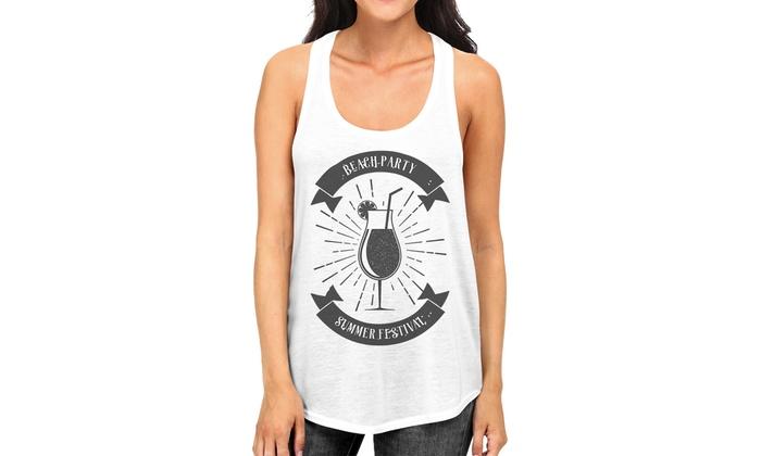 fff0df493323f6 365 Printing Beach Party Summer Festival Womens White Cotton Sleeveless T- shirt