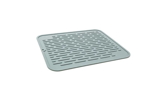 2 In 1 Silicone Drying Mat Trivet Grey Kitchen Counter Top Dish Cup
