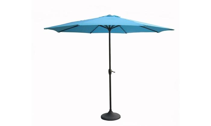 Outdoor Patio Market Umbrella 8 Ft. Hand Crank And Tilt, Turquoise