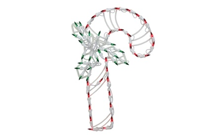 """18"""" Lighted Candy Cane with Holly Christmas Window Silhouette Decor 11849ae4-44bc-46bd-82df-fc0078bac58a"""