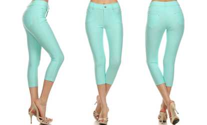 d19c071c9f8 Shop Groupon Style Clad Women s No Muffin Top Capri Jeggings (1- or 3-Pack)