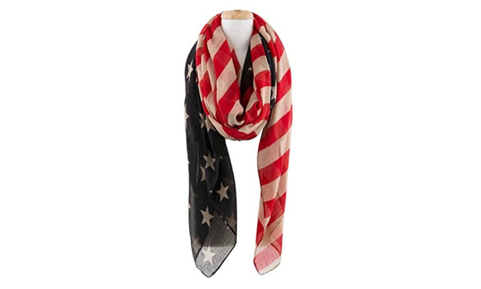 American Flag Patriotic Infinity or Long Scarf
