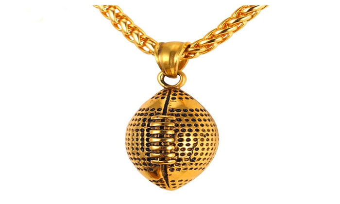 Pendant necklace mens jewelry chain football pendant groupon pendant necklace mens jewelry chain football pendant aloadofball Images