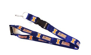Illinois Illini Clip Lanyard Keychain Id Ticket Holder NCAA - Blue
