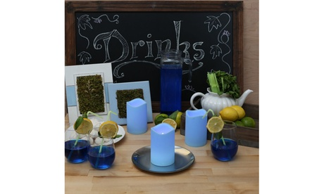 Flameless LED Baby Blue Flickering or Steady Candles (3-Pack)