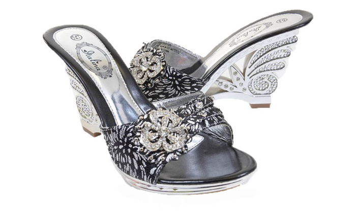 fcad5af88f774 Metallic Silver Jeweled Cut-out Strappy Slide Open-toe Sandal Heels ...