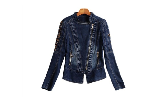 Women's Casual Zip Closure Long Sleeve Denim Jacket