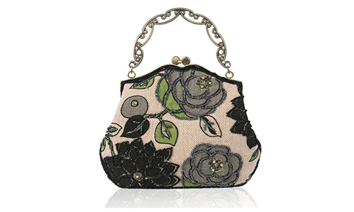 Women's Vintage Clutch Handbag Beaded Flower Bags